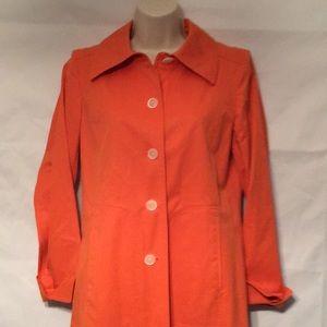 ELLEN TRACY L/S trench Bright Orange size 0